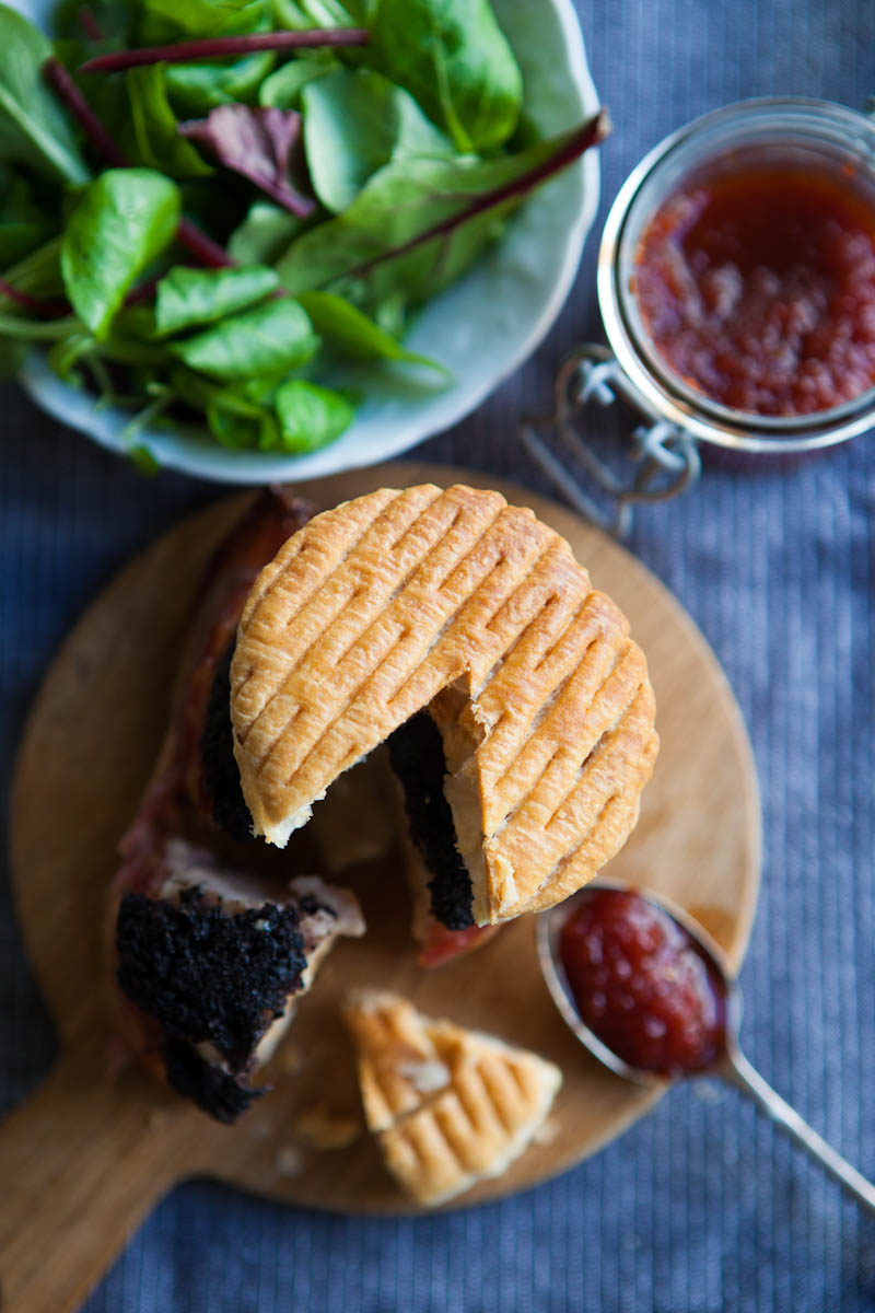 Stornoway stack - a handcrafted stack of haggis black pudding minced chicken and pastry