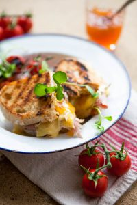 Sourdough toastie with cheese and ham