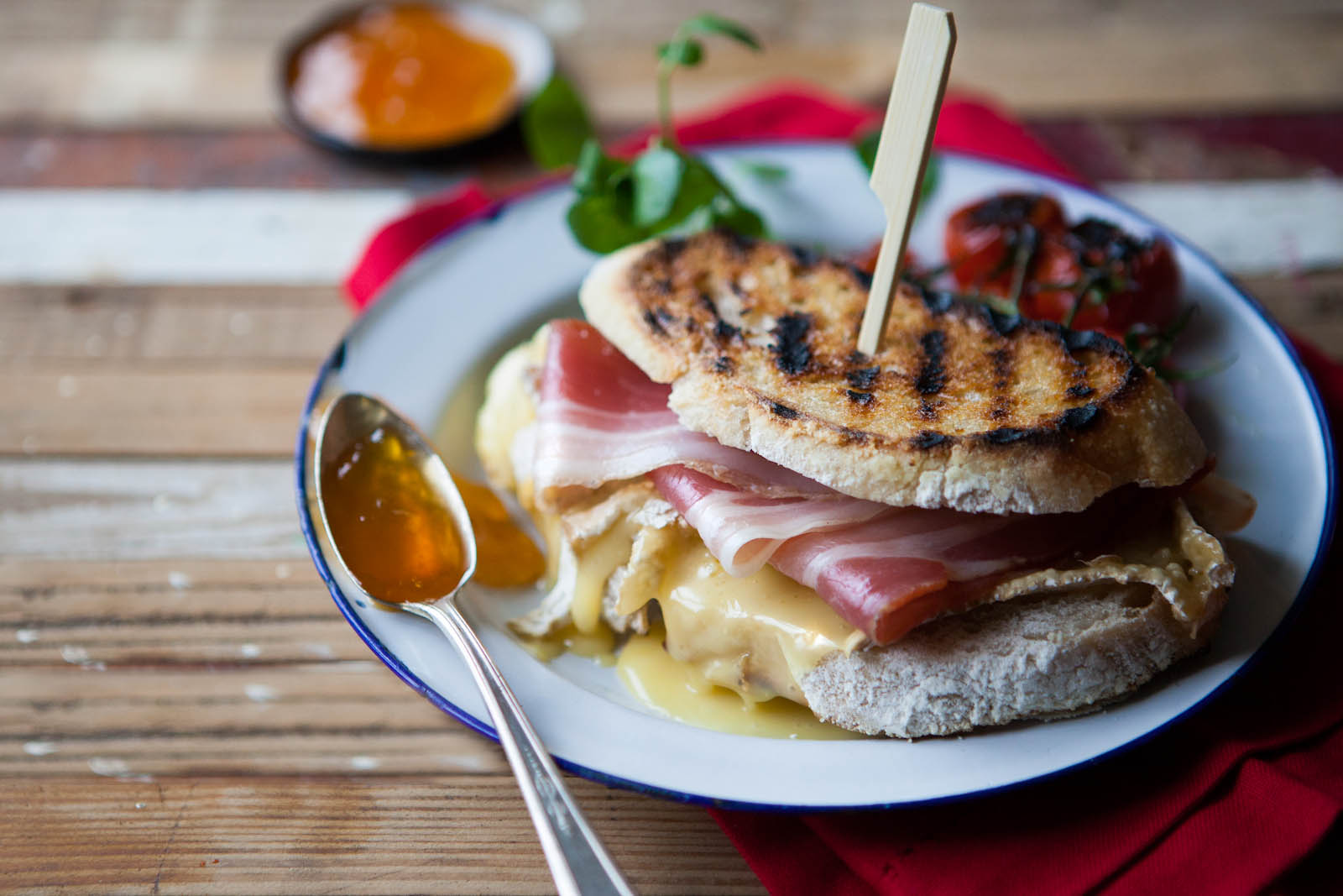 Delicious melted brie & ham toastie