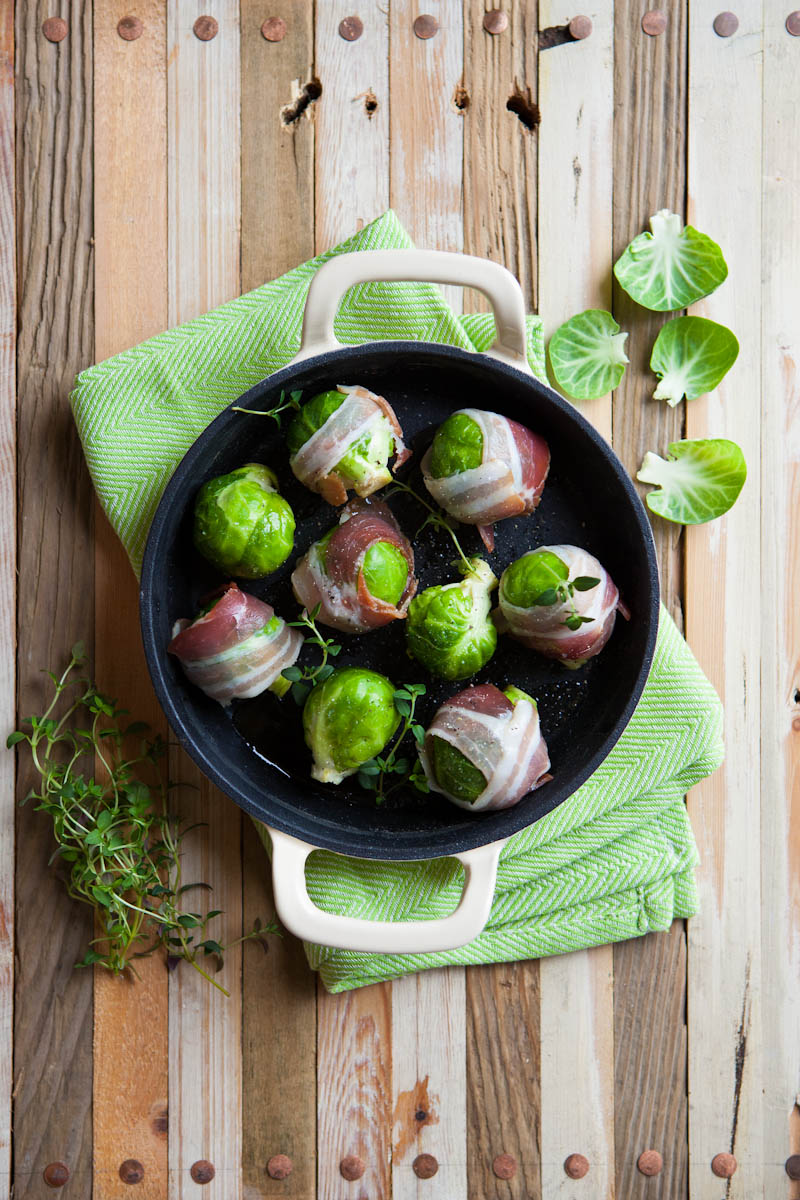 Sprouts wrapped in pancetta with thyme