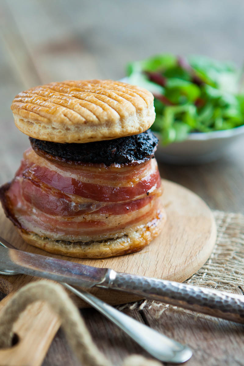 Stornoway stack - haggis, black pudding & minced lamb topped with a light pastry and wrapped in bacon