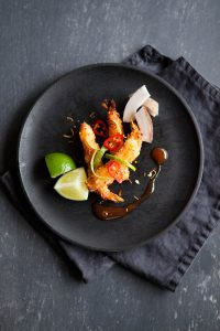 Coconut breaded prawns with lime and chilli