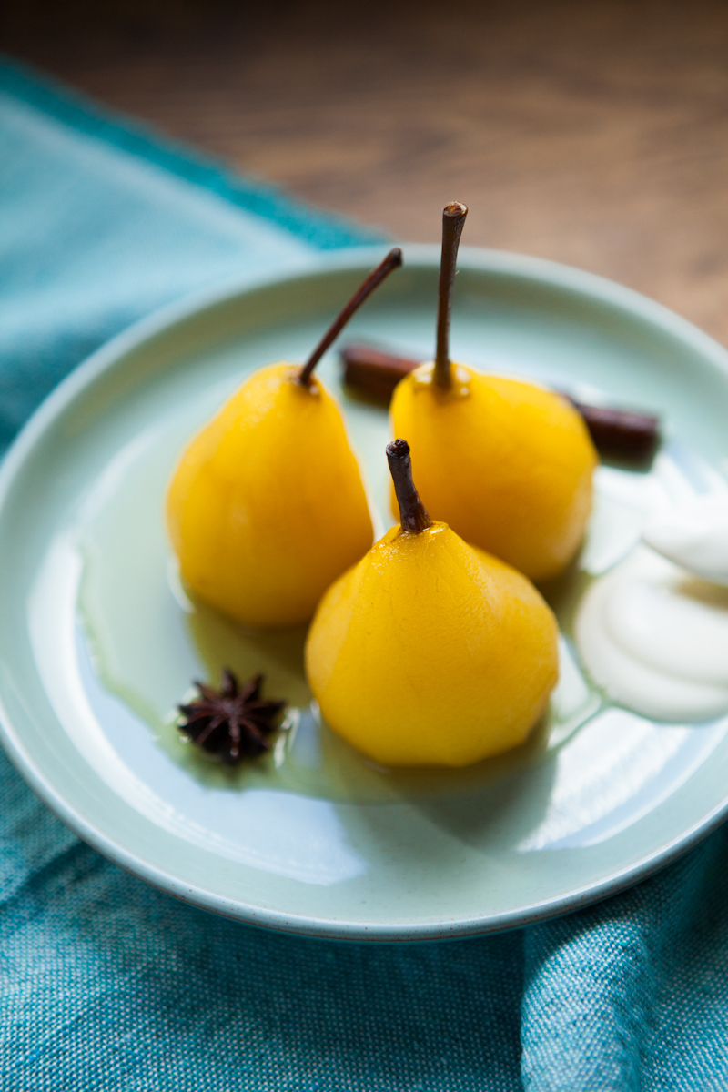 Spiced poached pears with cream