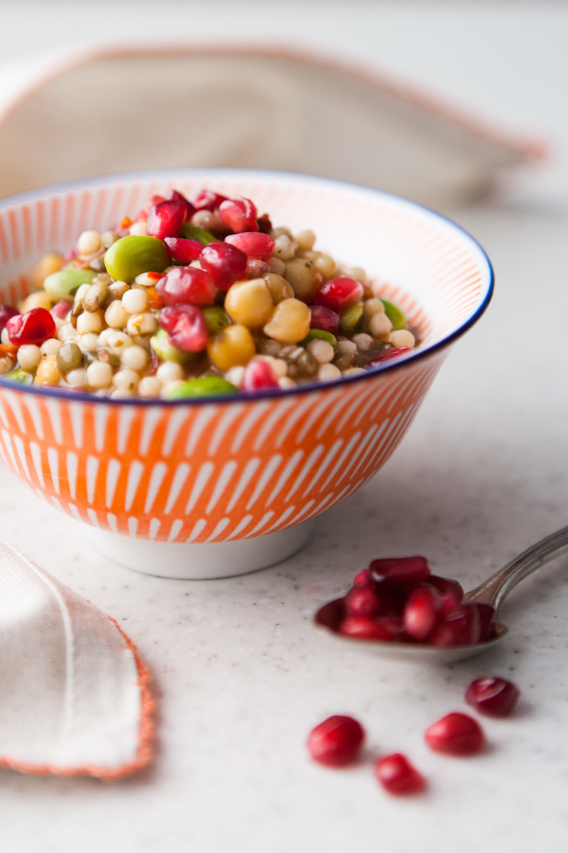 Mixed Bean Salad Studded with Pomegranite Seeds