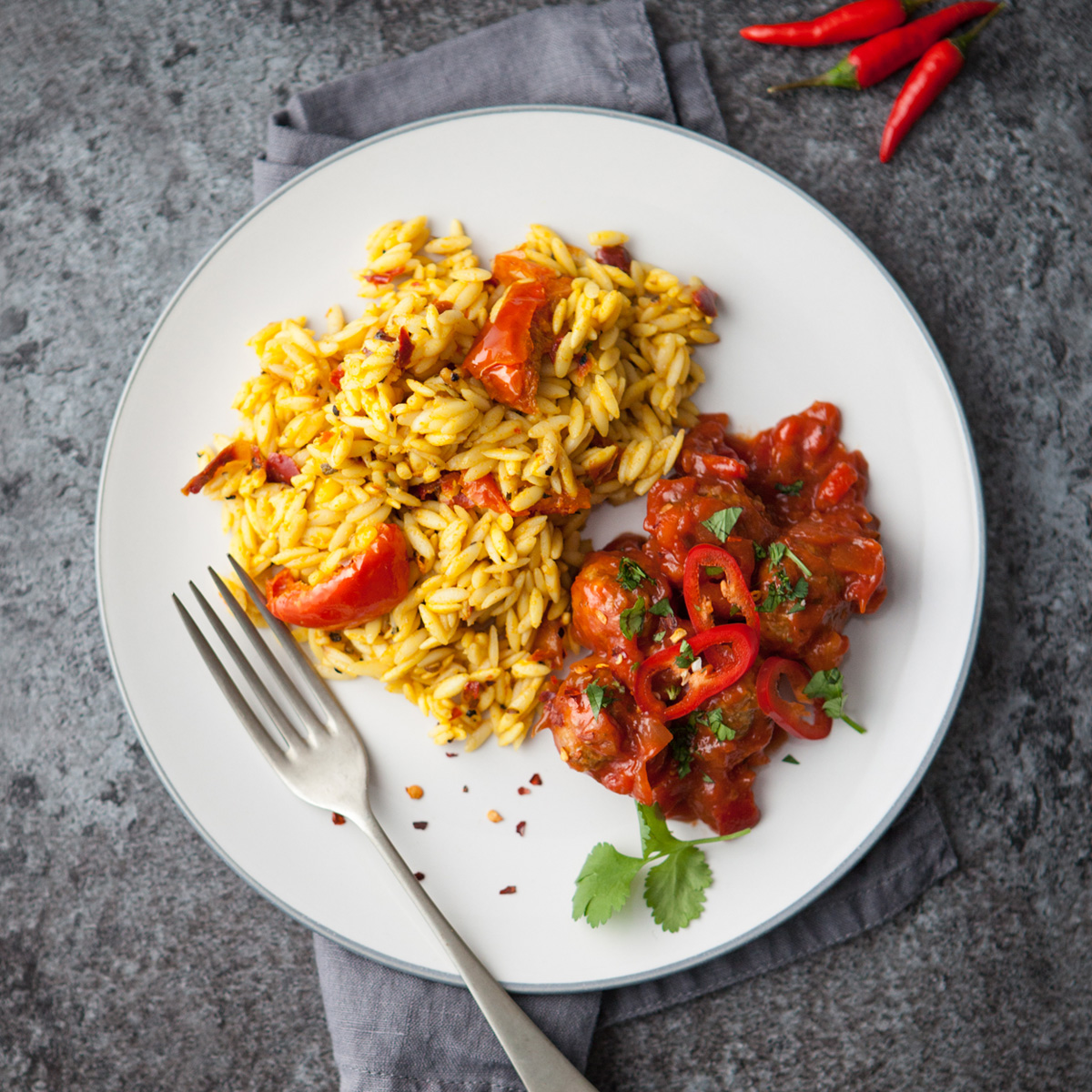 Spicy Meatballs with Orzo