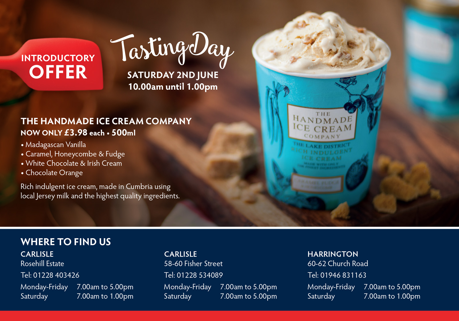 Layout in leaflet featuring The Handmade Ice Cream Company
