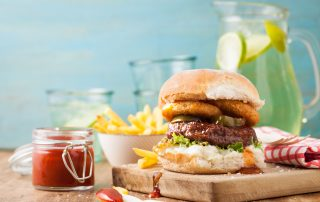 Burger with Onion Rings & Fries