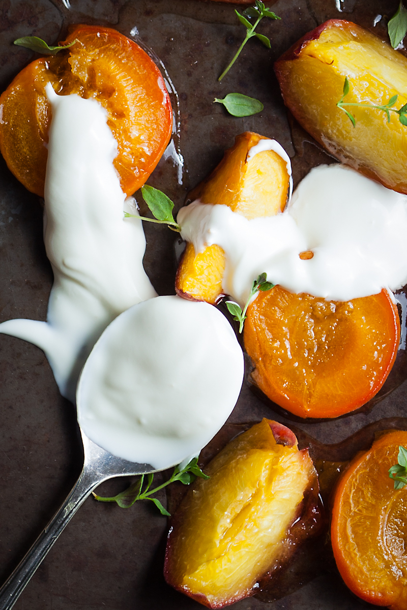 Delicious roasted apricots and peaches in syrup with thyme