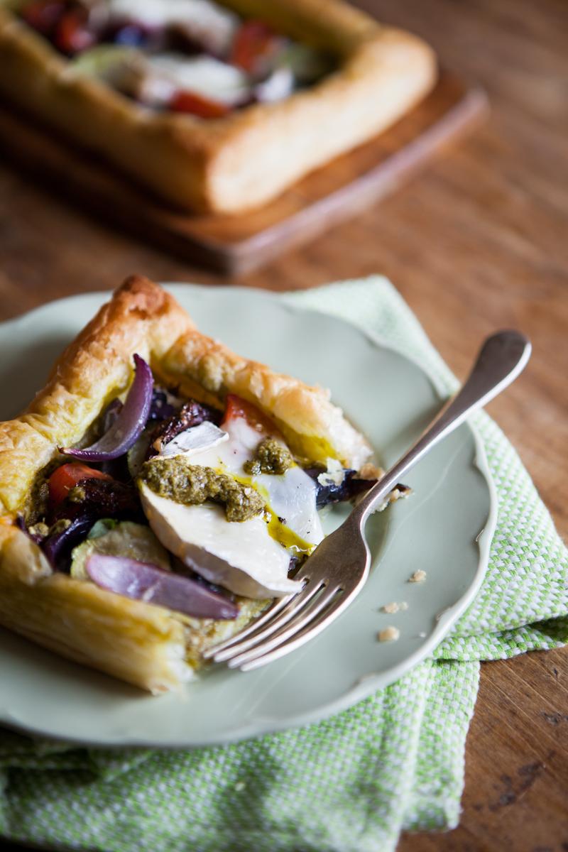 Goats Cheese & Roast Vegetable Tart