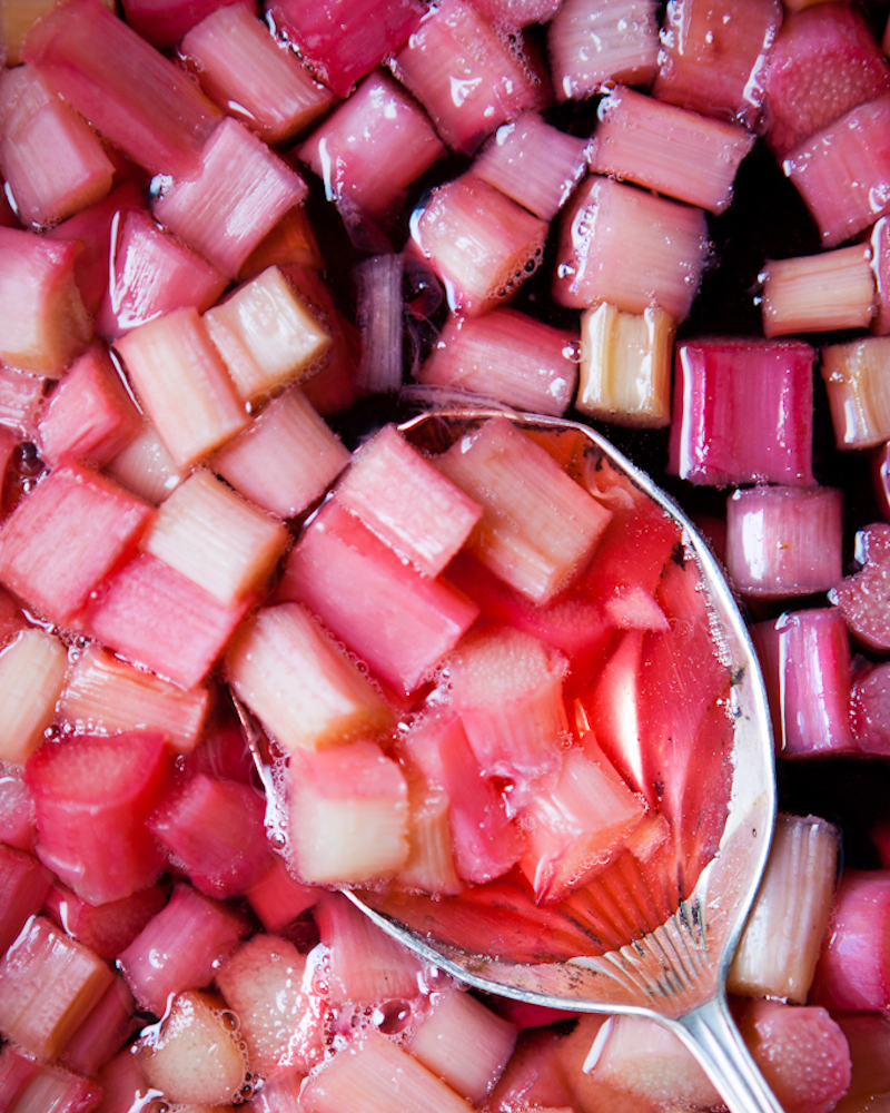 Vibrant pink rhubarb poached in light syrup