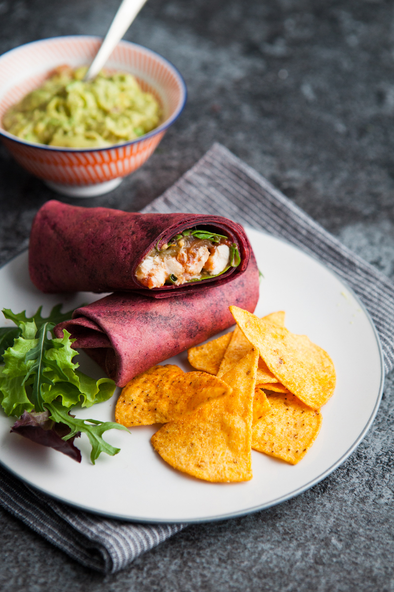 Chicken Wraps with Tortilla Chips and Guacamole