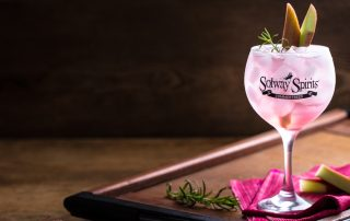 Rhubarb Crumble Gin & Tonic with fresh rhubarb & rosemary garnish